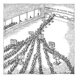 Extensive traffic lines of people trying to get into one open booth of the? - New Yorker Cartoon by John O'brien