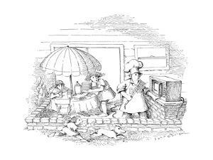 Family on patio waiting for dinner from outdoor microwave. - New Yorker Cartoon by John O'brien