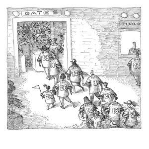 Fans enter a stadium wearing jerseys with their seat numbers on the back.  - New Yorker Cartoon by John O'brien