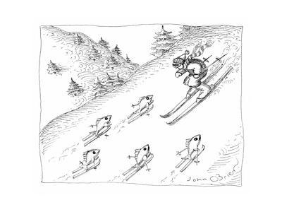 Fish skiing uphill - Cartoon
