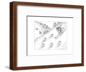Fish skiing uphill - Cartoon by John O'brien