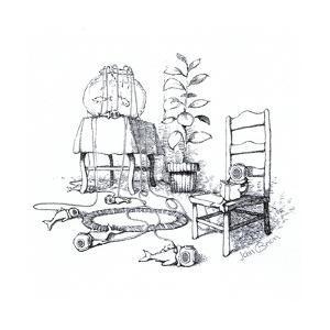 Fish wearing breathing apparatus outside of fish tank. - Cartoon by John O'brien