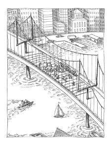 Football game on a bridge uses the towers as goal posts. - New Yorker Cartoon by John O'brien