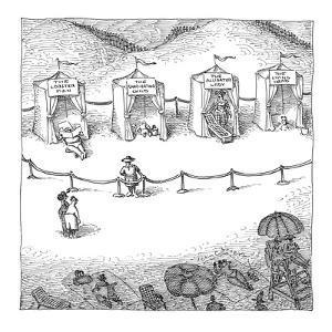 Freak show of average beach-goers. - New Yorker Cartoon by John O'brien