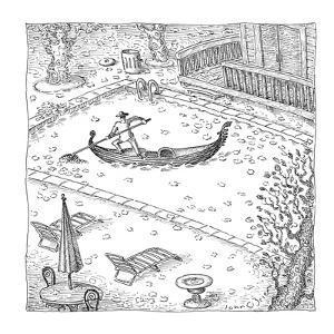 Gondolier raking up leaves in pool. - New Yorker Cartoon by John O'brien