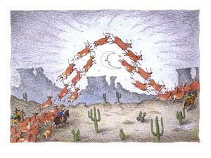 Herding cows - Cartoon by John O'brien