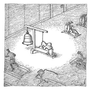 In an otherwise normal-looking gym, a hunchback practices weightlifting wi? - New Yorker Cartoon by John O'brien