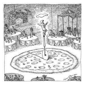 """In the middle of a restaurant, a chef balances atop a giant pizza-cutter (?"""" - New Yorker Cartoon by John O'brien"""