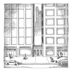 Little sandwich shop 'sandwiched' between two skyscrapers. - New Yorker Cartoon by John O'brien
