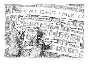 Man and woman are looking at Valentine's Day cards sorted under categories? - New Yorker Cartoon by John O'brien