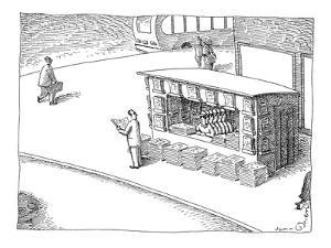 Man at newstand with multiple stacks of newspapers and multiple copies of ? - New Yorker Cartoon by John O'brien