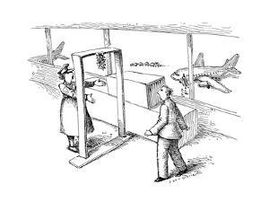 Man going through airport security with mistletoe over the metal detector. - New Yorker Cartoon by John O'brien