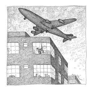 Man hitting ceiling of apartment with broom to tell airplane overhead to b? - New Yorker Cartoon by John O'brien