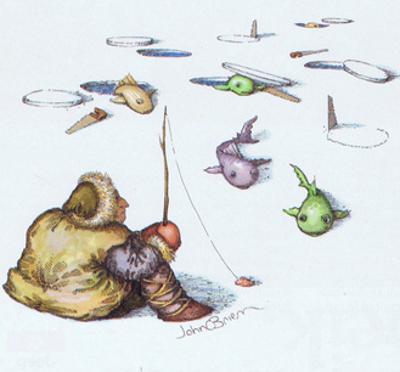 Man ice fishing. - Cartoon by John O'brien