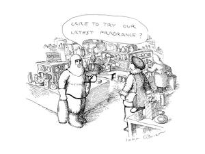 """Man in protective clothing with fire extinguisher in mall says to woman """"C?"""" - New Yorker Cartoon by John O'brien"""