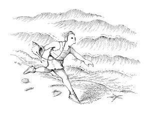 Man running along the beach listening to a sea shell with earphones. - New Yorker Cartoon by John O'brien