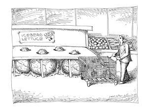 """Man sees tips of enormous lettuce heads sticking up out of lettuce tray la?"""" - New Yorker Cartoon by John O'brien"""