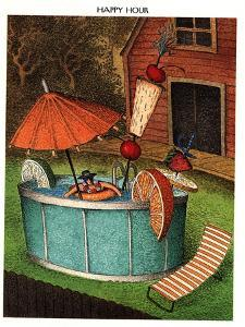 Man sits in huge pool with various fruits submerged in the pool along with… - New Yorker Cartoon by John O'brien