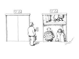 Man waiting for elevator sees two people who's vertical hold has been disr? - New Yorker Cartoon by John O'brien