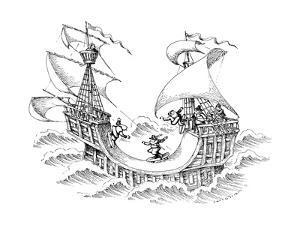 Men skate boarding on ship. - New Yorker Cartoon by John O'brien