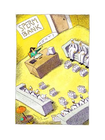 Milk men at sperm bank - Cartoon by John O'brien
