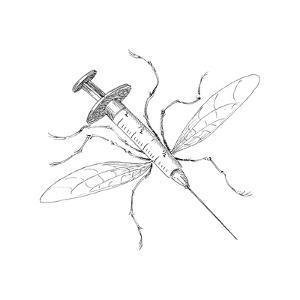 Mosquito Needle - Cartoon by John O'brien