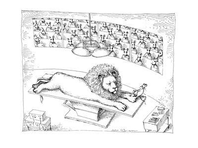 Operating theater where mouse is removing thorn from Lion's foot. - New Yorker Cartoon