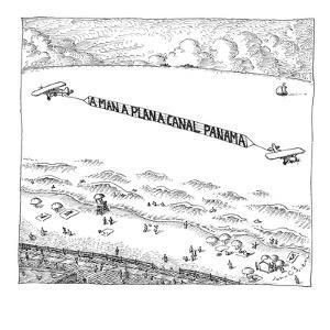 Palindromic sky-writer planes at the beach. - New Yorker Cartoon by John O'brien