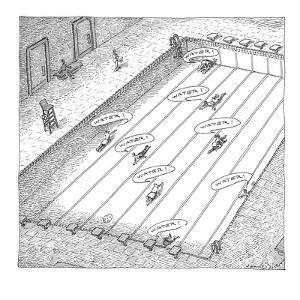 """People crawl along the bottom of an empty swimming pool yelling """"water!"""" - New Yorker Cartoon by John O'brien"""