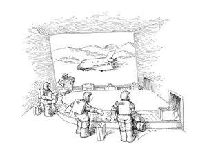 People in space suits waiting at a luggage claim. - New Yorker Cartoon by John O'brien