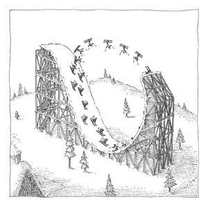 (People ski on a circular ski ramp that resembles an upside down roller co? - New Yorker Cartoon by John O'brien