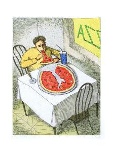 Person eating a pizza slice shaped like Italy. - Cartoon by John O'brien