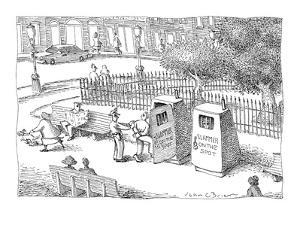Policeman places criminal in 'Slammer On The Spot,' a portable jail cell i? - New Yorker Cartoon by John O'brien