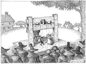 Puritan in the stocks gives naughty marionette show—a male Puritan is chas… - New Yorker Cartoon by John O'brien