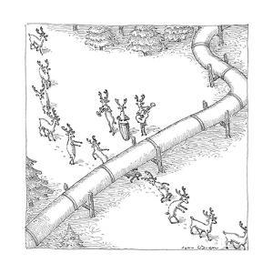 Reindeer in a conga line do the limbo beneath a pipeline. - New Yorker Cartoon by John O'brien