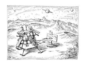 Robot-like NASA spacecraft stands on another planet, painting a picture of? - New Yorker Cartoon by John O'brien