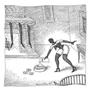 S&M woman has hung up stockings and put milk and cookies on the floor for ? - New Yorker Cartoon by John O'brien