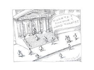 Scalper at courthouse - Cartoon by John O'brien