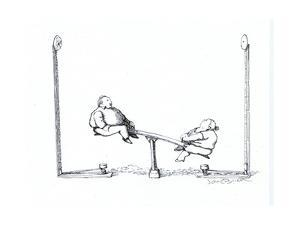 Seesaw and a carnival game. - Cartoon by John O'brien