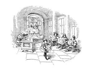 Several men sit in line at a sort of medieval patent office in a royal cou? - New Yorker Cartoon by John O'brien