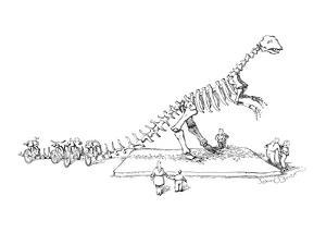 Skeleton of dinosaur stands outside; the vertebrae in its tail serve as a ? - New Yorker Cartoon by John O'brien