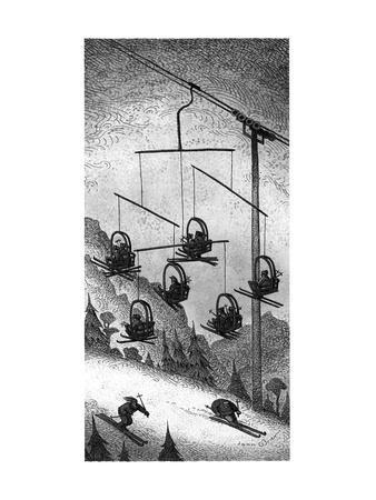 Ski-lift mobile. - New Yorker Cartoon