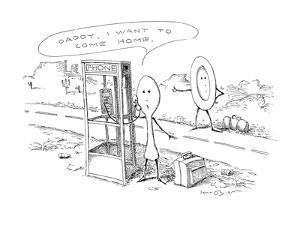 Spoon into pay-phone. - New Yorker Cartoon by John O'brien