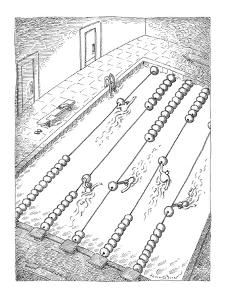 Swimmers turn lane dividers in swimming pool into an abacus. - New Yorker Cartoon by John O'brien