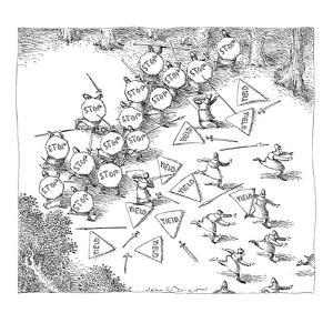 Sword and spear battle between one group of soldiers carrying stop signs, ? - New Yorker Cartoon by John O'brien