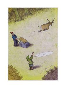 Target practice with a deer - Cartoon by John O'brien