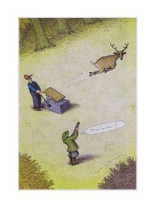 Target practice with a deer - Cartoon by John O'brien