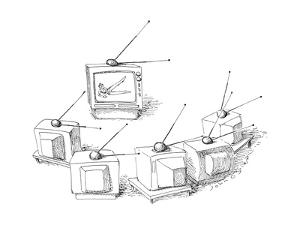 Televisions doing antenna exercises. - New Yorker Cartoon by John O'brien