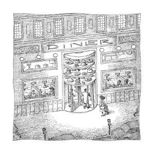 The revolving door into a Diner has a revolving selection of cakes and pie? - New Yorker Cartoon by John O'brien