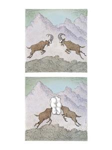 Two horned stags charge each other to butt heads; on collision,  they're p? - New Yorker Cartoon by John O'brien